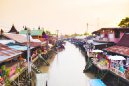 precarious: Defocused vintage tone the Ampawa floating market for backgroundtexture