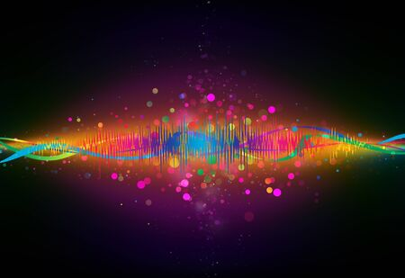 analyzer: Colorful Equalizer wave glitter sparkle defocused rays lights bokeh abstract background. Stock Photo