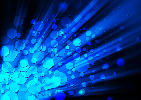 blue ray: Blue ray glitter sparkle defocused rays lights bokeh abstract background.