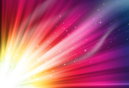 Gold,pink and purple glitter sparkle defocused rays lights bokeh abstract background. Stock Photo