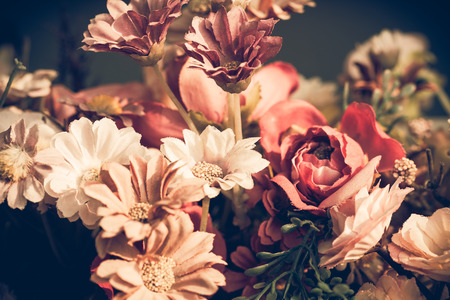 roses garden: Close up colorful bunch of beautiful flowers.Vintage or retro tone. Stock Photo
