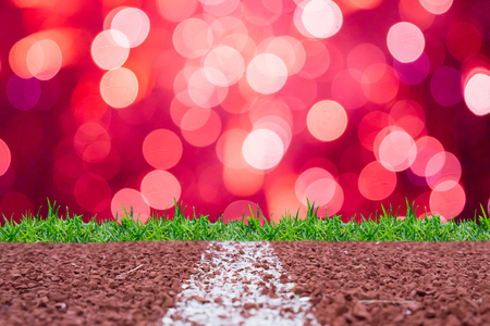 sprightly: Running track with pink glitter rays lights bokeh business background. Stock Photo