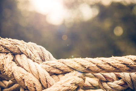 lashing: Close up Coil of rope with nature background.Vintage or retro tone. Stock Photo