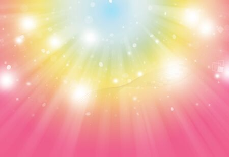 Pink Yellow and blue glitter sparkles defocused rays lights bokeh radial abstract background/texture.Pastel tone