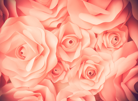 nourish: Close up beautiful bunch pink rose for backgroundtexture.Vintage or retro tone.