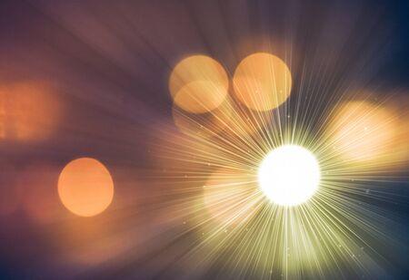 feux de rayons de nuit bokeh glitter defocused fond abstrait.