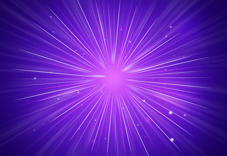 Abstract sparkles rays light explosion purple backgroundtexture. Stock Photo