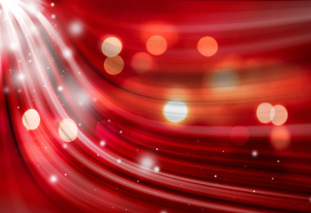 Red sparkle twirl and glitter radial rays twinkled lights bokeh beautiful abstract background.