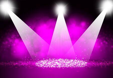 Spotlight focus show on stage with sparkle bokeh dark purple background.