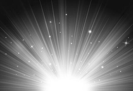 Grey glitter sparkles rays lights bokeh Festive Elegant abstract background. Фото со стока