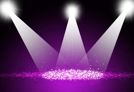 Spotlight focus show on stage with sparkle bokeh purple  background. Stock Photo