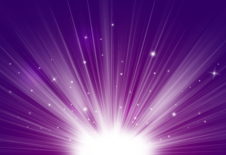 Purple glitter sparkles rays lights bokeh Festive Elegant abstract background.