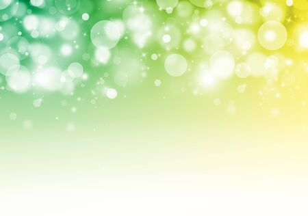 Green and Yellow glitter sparkles rays lights bokeh Festive Elegant abstract background.