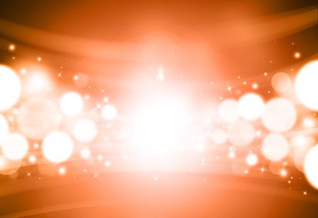 Orange glitter sparkles rays lights bokeh Festive Elegant abstract background.
