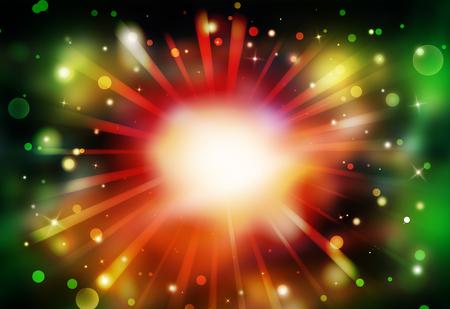 Dark Red,Green glitter sparkles rays lights bokeh Festive Elegant abstract background.