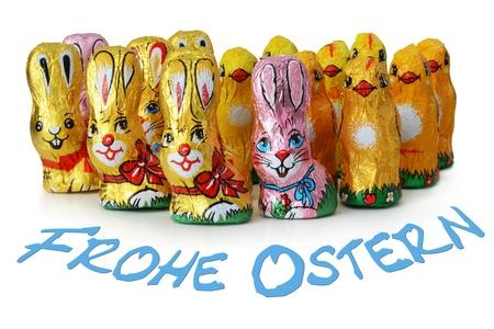 Happy Easter mit Schokolade Osterhasen Lizenzfreie Bilder