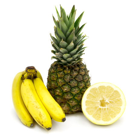 sweetie: Fruit - bananas, pineapple and sweetie Stock Photo