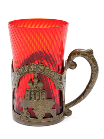 Red drinking glass with handle Standard-Bild