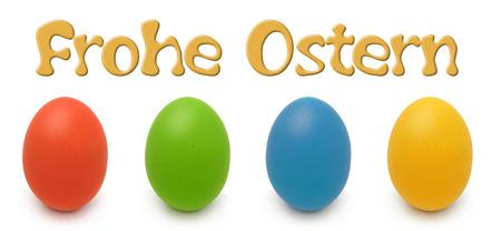 Frohe Ostern mit Ostereiern rot, grün, blau und gelb