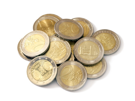 A small pile of euro coins