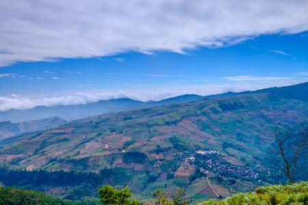 Fog and Cloud on Blue Sky  Mountain View Stock Photo