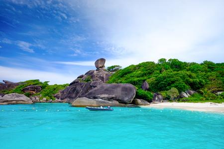 Blue Ocean and White Beach at Similan Island Thailand
