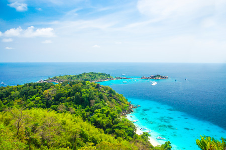 Blue Ocean Clear Water Blue Sky and White Beach View Point