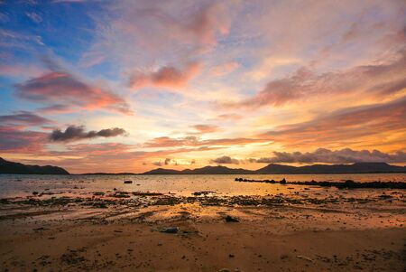 red sky: Sunset Red Sky Twilight  rock beach