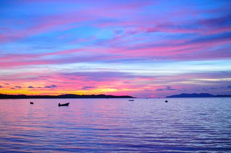 Red  Blue Sky Twilight  on the beach