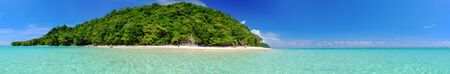beach panorama: Panorama White Beach Blue Ocean and Blue Sky  at Rok Island Thailand