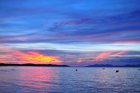 h Red  Blue Sky Twilight  on the beach
