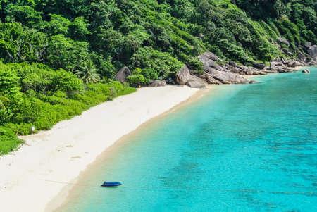 Blue Ocean Clear Water Blue Sky and White Beach
