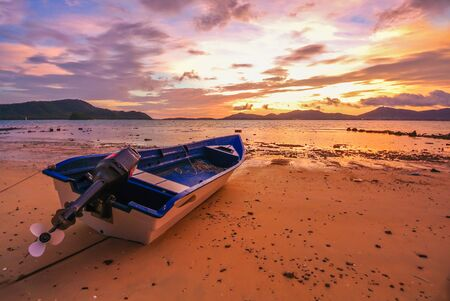 red sky: Boat Sunset Red Sky Twilight  rock beach