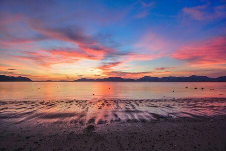 Sunset Red Blue Sky Twilight  rock beach