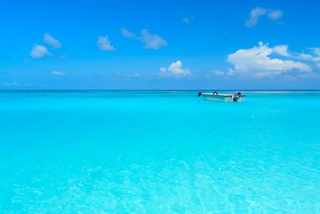 Very clear  blue Ocean with  Blue Sky at Tachai Island Thailand Stock Photo