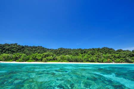 Blue Ocean Clear Water and Blue Sky at Tachai Island Thailand