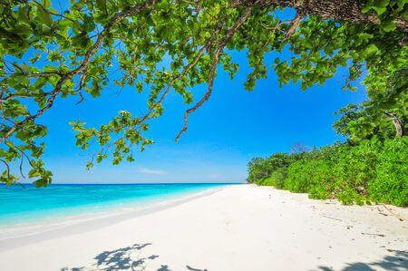 White Beach and Blue Ocean with  Blue Sky at Tachai Island Thailand