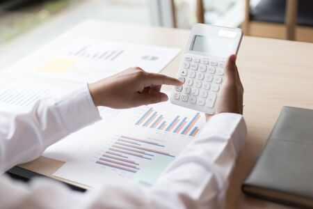 The professional investor, businessman Executives are working and analyzing project statistics result in report investment and planning strategic marketing, financial and accounting concept