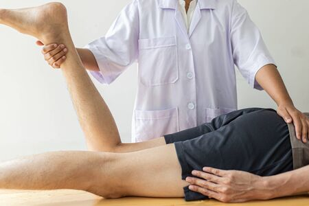 Professional therapists are stretching muscles, patients with abnormal muscular symptoms, physical rehabilitation therapies and treatment of physiological disorders by physiotherapists concept.