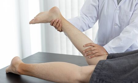 Physical therapists or physicians perform physical therapy for patients admitted to the hospital, Massage or muscle relaxation and physical therapy concept.