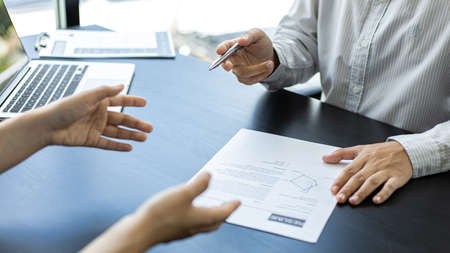 Approving and signing contracts concept, New employees are approved to work in the stock market and have signed contracts with major executives.