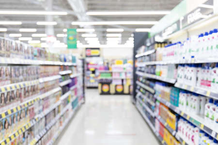 Abstract blurred supermarket and many products on the shelves, Background image in supermarket , wide variety of products are placed on the shelves for an orderly display.