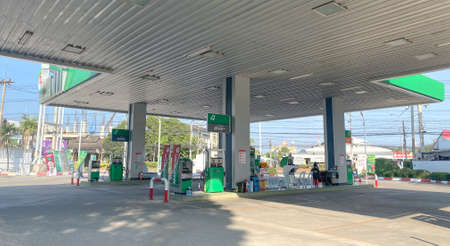 Chiangmai, Thailand-February 2, 2021 : PT major oil service station in Thailand, Fueling and gas locations for motorbikes and cars, Engine resting stations for long-distance vehicles, Oil station. Editorial