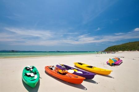 Multi Color Canoe, Lan Island, Pattaya, Thailand Stock Photo