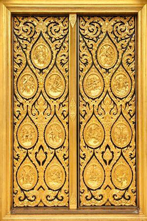 thai door: Native Thai style of pattern on door temple Stock Photo