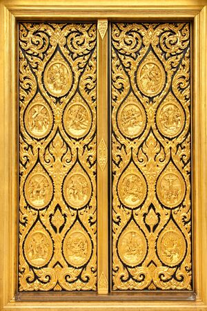 Native Thai style of pattern on door temple Stock Photo