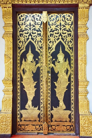 Traditional Thai style door temple, Chaingmai Province, Thailand