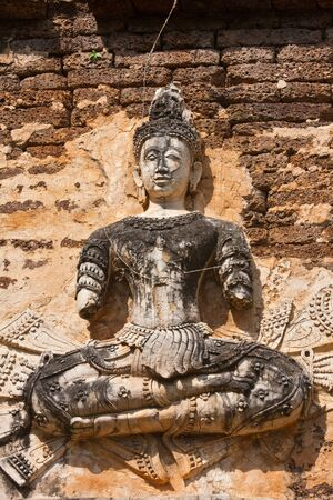 The statue buddha on pagoda in jedyod temple, chiangmai thailand