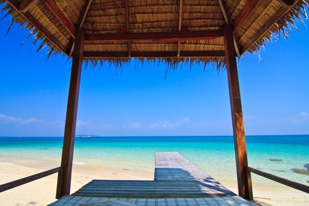 The hut and Sea Munnork Island, Rayong Province, Gulf of Thailand Stock Photo