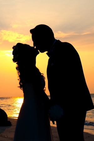 Sweet Sunset, Pre-wedding, Munnork Island, Rayong Province, Gulf of Thailand Stock Photo